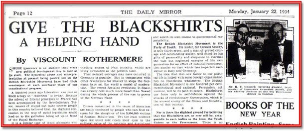 daily mail: hurrah for the blackshirts!