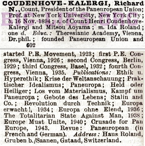 1948 Who's Who 1948 Count Richard Coudenhove-Kalergi
